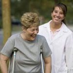 Caregiver teaching woman how to use crutches|Wonderful Devices for Ambulation