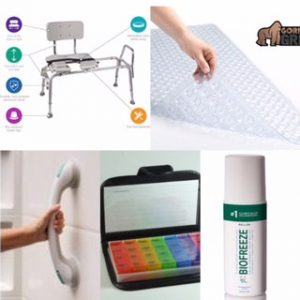 Bathchair, bathmat, suction cup bars, pill box, bio freeze|Top 10 Products To Make Family Caregiving Easier